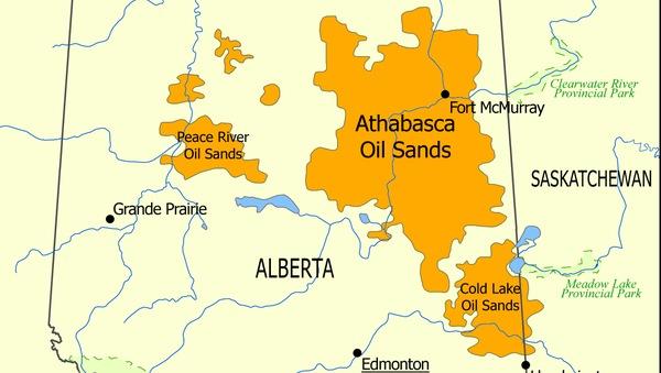 Карта размещения залежей битуминозных песков Канады на севере провинции Альберты