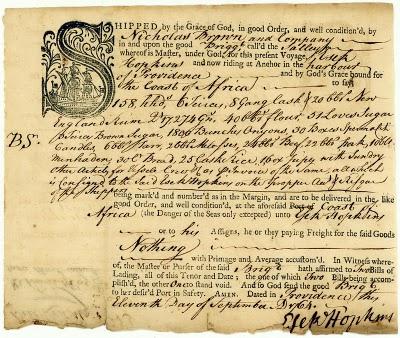 Декларация судового груза брига 'Sally'